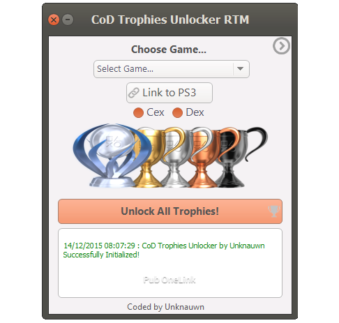 CoD Trophies Unlocker serves has to free the Trophies of the Game Call of Duty of Modern Warfare 3 until Black Ops 3 directly in game or in the Menu, for you and your Friends, he Unlock 100 % of Trophies and thus offers you the Platinum for the game Chosen!